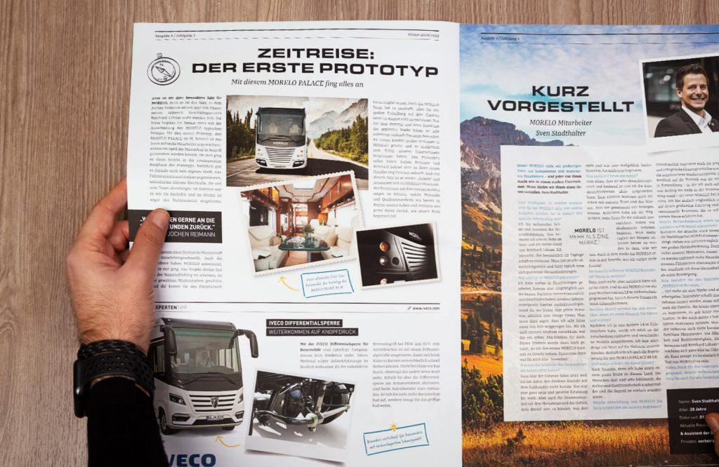 Draufsicht Kundenzeitung MORELO - Print Design von BRANDORT markenschmiede